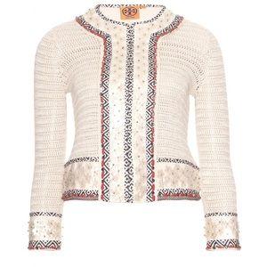 Tory Burch Donovan Embellished Crochet Jacket